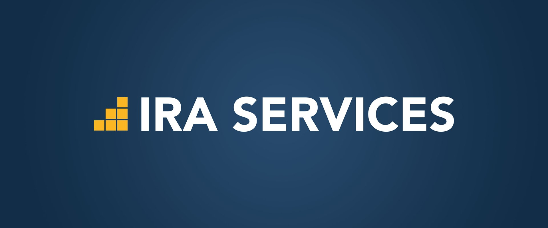 Logo design for a financial services company, using yellow blocks and white lettering on a navy blue background.