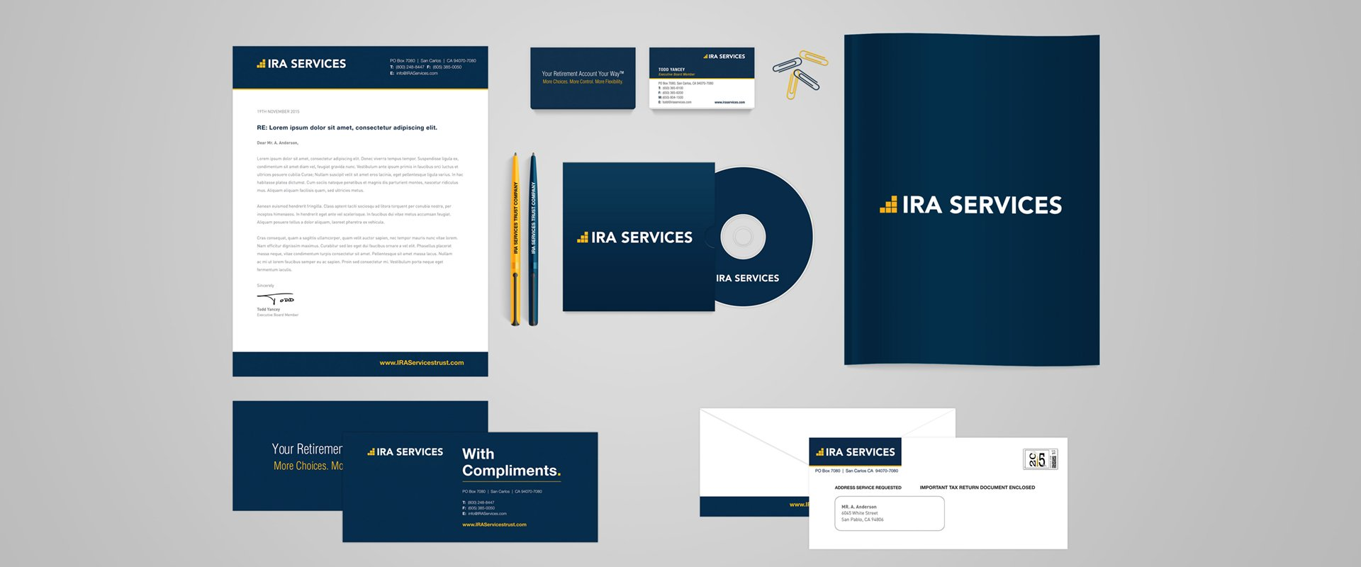 Financial services branded stationery including letterhead, business cards, cd case, pens, compliment slips and envelopes.