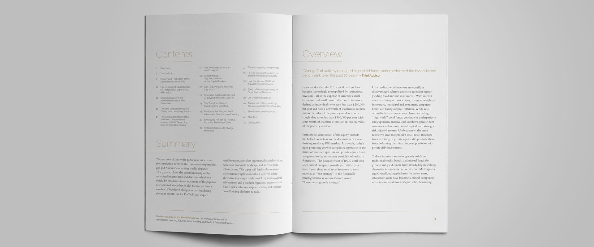 White paper spread outlining the brochures content, a summary and an overview.