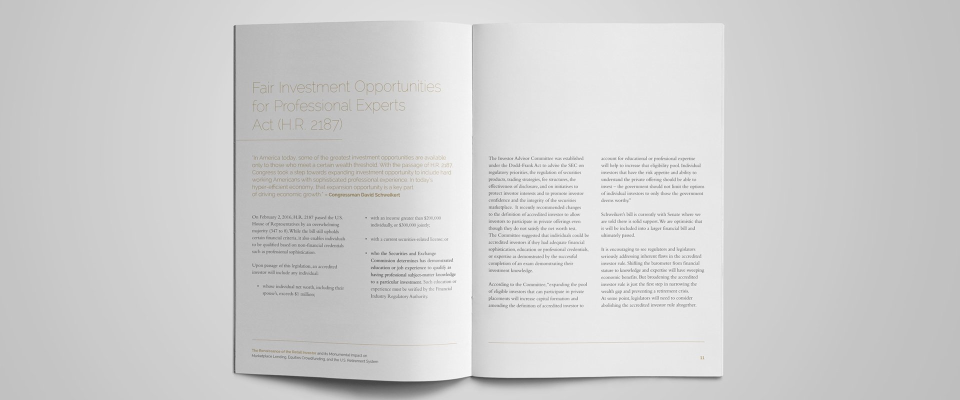Typographic whitepaper spread using large lettering for titles along with complimentary fonts and colours.