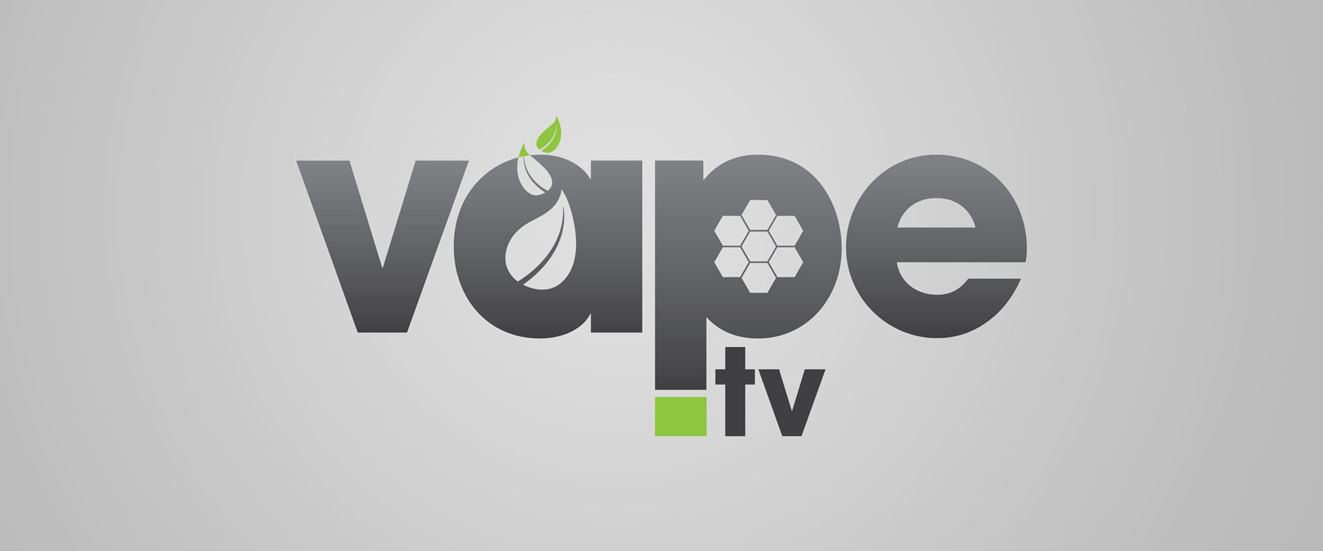 Logo design for Vape.tv with a grey gradient and green leaves.